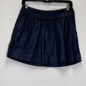 J. Crew Chambray Blue Pockets Pleats mini skirt